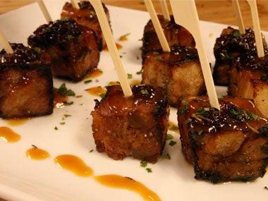 Braised Pork Belly With Dried Cherry Glaze